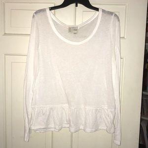 Women's white long sleeve top